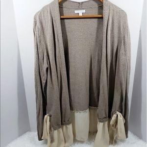 Lauren Conrad Sweater Tan with Sheer Trim Size XL